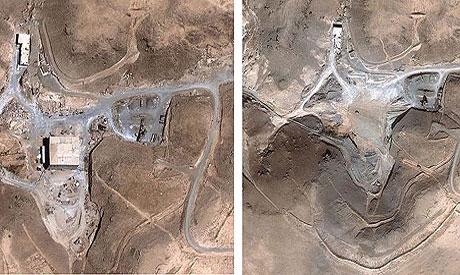 Foto satellitari del sito nucleare siriano al-Kabir, prima e dopo l'attacco del settembre 2007 attribuito all'aviazione israeliana