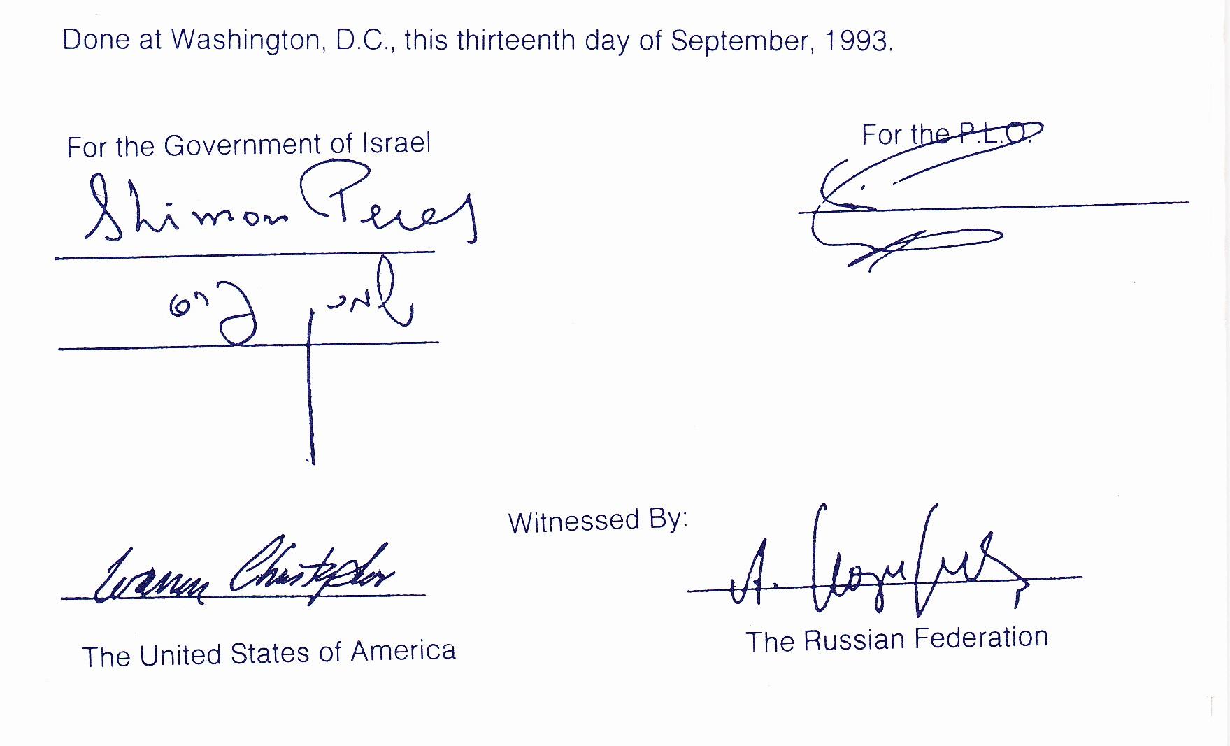 Le firme in calce alla Dichiarazione di Principi del 13 settembre 1993
