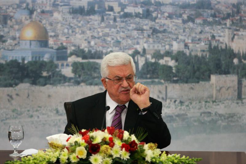 Il presidente dell'Autorità Palestinese Mahmoud Abbas (Abu Mazen) durante il suo discorso di sabato 11 gennaio 2014 nella sede governativa della Muqata, a Ramallah