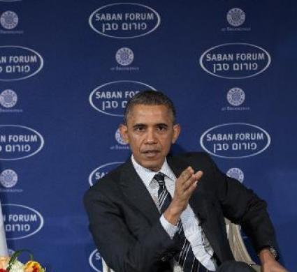 Il presidente Usa Barak Obama al Saban Forum, Washoington,m 7 dicembre 2014