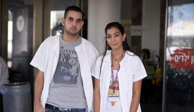 Arabi israeliani in servizio volontariato presso l'Ospedale Rambam di Haifa