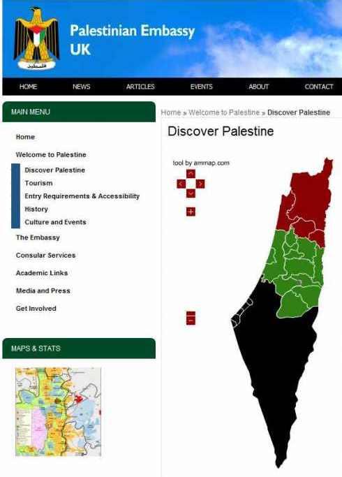 Tutta la pubblicistica palestinese (anche quella ufficiale, come questa pagina del sito web della delegazione dell'Autorità Palestinese nel Regno Unito) identifica tutto il paese come Palestina: non c'è posto per lo stato ebraico