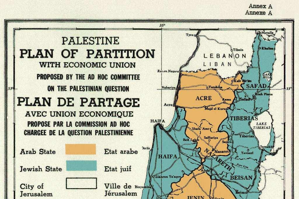 """Un particolare della mappa della spartizione del mandato Britannico allegata alla Risoluzione Onu n. 181 (1947): nella legenda, come nel testo della risoluzione, la locuzione """"Jewish State"""" (stato ebraico)"""