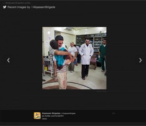 Una foto diffusa dalle Brigate Al Qassam (Hamas) nel novembre 2012: dicevano che si trattava di un bambino palestinese colpito dagli israeliani.