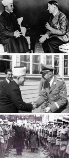 Il mufti palestinese Haj Mohammed Effendi Amin el-Husseini con Adolf Hitler, Heinrich Himmler e le SS musulmane