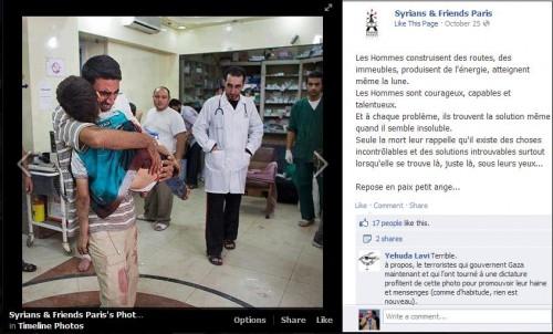La stessa foto diffusa un mese prima sulla pagina Facebook di Syrians & Friends: si trattava di un bambino siriano colpito nella guerra civile