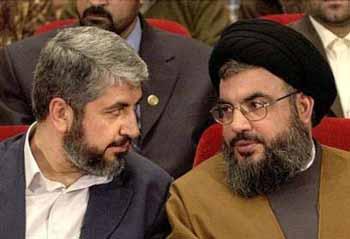 Nella foto: Khaled Meshaal, capo di Hamas, e Hassan Nasrallah, capo di Hezbollah