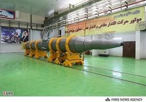 Missile balistico iraniano Sajjil-2, in un'immagine diffusa dall'agenzia iraniana Fars