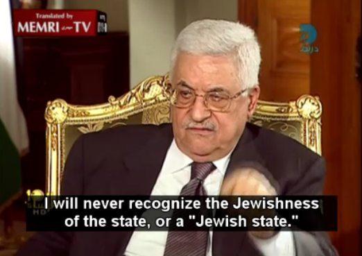 """Il presidente dell'Autorità Palestinese Abu Mazen: """"Non riconoscero' mai l'ebraicità dello stato o uno stato ebraico"""""""