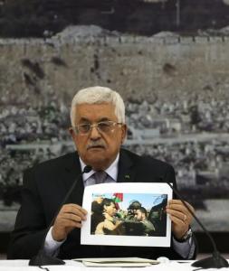 """Il presidente dell'Autorità Palestinese Mahmoud Abbas (Abu Mazen) durante la conferenza stampa di mercoledì con cui ha accusato Israele di """"atto barbarico"""" e di omicidio"""