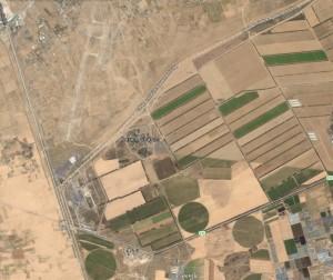Il kibbutz Kerem Shalom vicino all'angolo sud-ovest della striscia di Gaza
