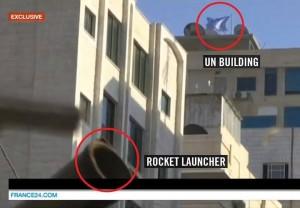 Un lancia razzi palestinese (nel cerchio rosso in basso) posizionato a ridosso di un edificio dell'Onu