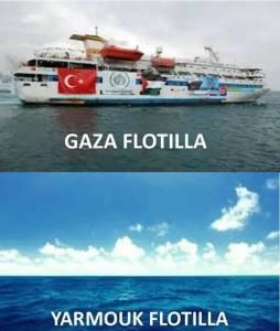 In alto: La flottiglia per Gaza. In basso: la flottiglia per Yarmouk