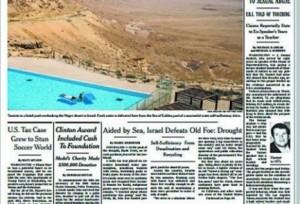 La prima pagina del New York Times di sabato 30 maggio 2015