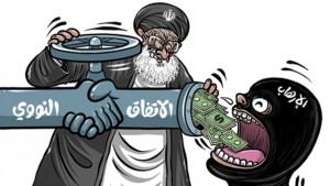 Nella vignetta del giornale saudita Al-Watan: l'accordo sul nucleare, rappresentato dalla stretta di mano, fa affluire soldi ai terroristi finanziati dall'Iran