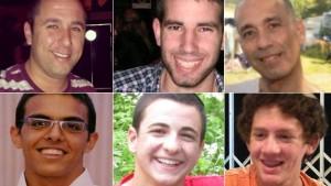 Dall'alto e da sinistra: Danny Gonen, Malachi Rosenfeld, Baruch Mizrahi, Eyal Yifrach, Gilad Sha'er, Naftali Frenkel: tutti uccisi in attentati organizzati da terroristi palestinesi scarcerati nel 2011 nell'ambito del ricatto per la liberazione dell'ostaggio Gilad Shalit