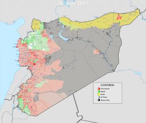 Mappa (provvisoria) della situzione sul terreno in Siria (cliccare per ingrandire).