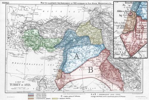 """Gli Accordi Sykes-Picot del 1916 per la spartizione delle rispettive """"zone d'influenza"""" fra Inghilterra, Francia, Russia e Italia dopo il crollo dell'Impero Ottomano (cliccare per ingrandire)"""