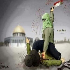 """Vignetta della propaganda sui social-network palestinesi a favore della """"intifada dei coltelli"""" a """"difesa"""" della moschea di al-Aqsa"""