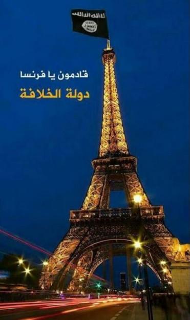Fotomontaggio con cui simpatizzanti dell'SIS hanno inneggiato on-line agli attentati di Parigi