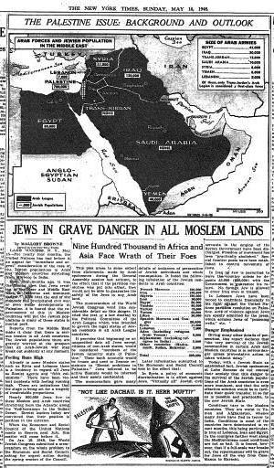 """New York Times 16 maggio 1948: """"Ebrei in pericolo in tutte le terre musulmane"""" (clicca per ingrandire)"""
