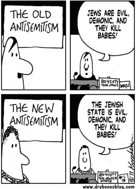 """Il vecchio antisemitismo: """"Gli ebrei sono malvagi, demoniaci e uccidono i bambini"""". Il nuovo antisemitismo: """"Lo stato ebraico è malvagio, demoniaco e uccide i bambini""""."""