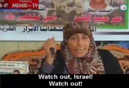 """La donna col coltello: """"Attento, Israele! Attento!"""" (dalla tv palestinese)"""