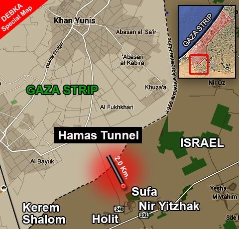 Il percorso del tunnel scoperto lo scorso aprile, con sbocco nei pressi del villaggio israeliano di