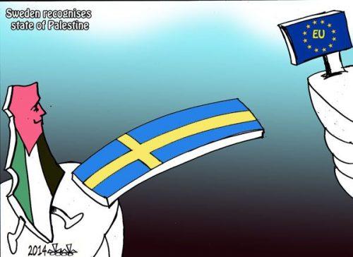 """La vignetta, che celebra il riconoscimento dello """"stato palestinese"""" da parte della Svezia nell'ottobre 2014, rappresenta lo stato palestinese con la consueta mappa che implica la cancellazione di Israele dalla carta geografica"""