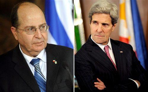 L'ex ministro della difesa israeliano Moshe Yaalon e il segretario di stato Usa John Kerry