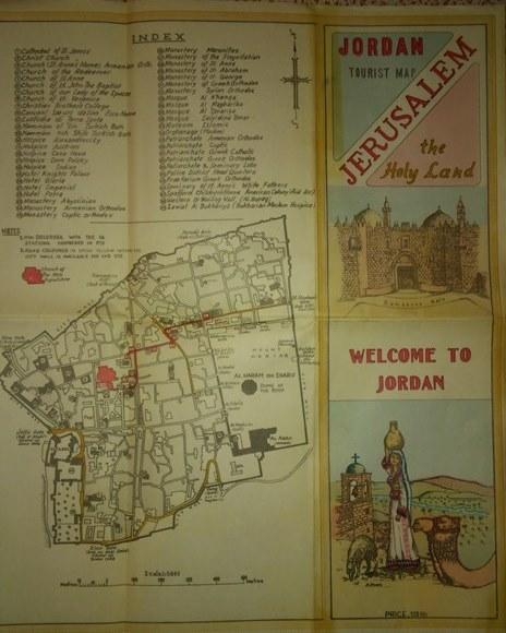 La mappa turistica ufficiale giordana del 1956