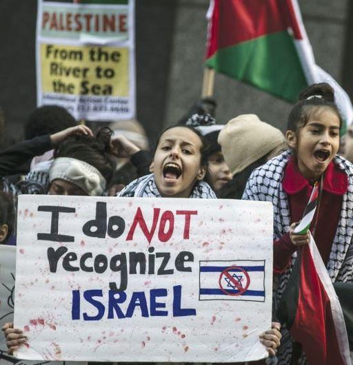 """Manifestazione a New York. Sul cartello grande: """"Non riconosco Israele"""". Sul cartello in alto: """"Palestina dal fiume al mare"""""""