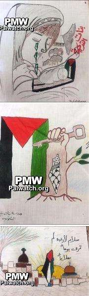 """Come dimostrano le mappe riprodotte in questi disegni di scolari palestinesi, nelle scuole palestinesi si insegna che """"tutto Israele è Palestina"""" e che Israele deve essere cancellato dalla carta geografica"""