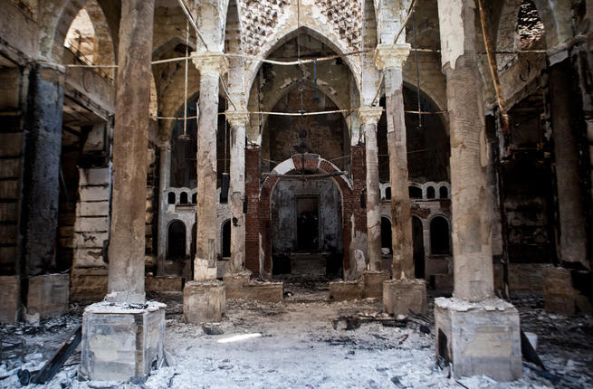 La chiesta copta Amir Tadros, a Minya (250 km a sud del Cairo) data alle fiamme lo scorso 14 agosto