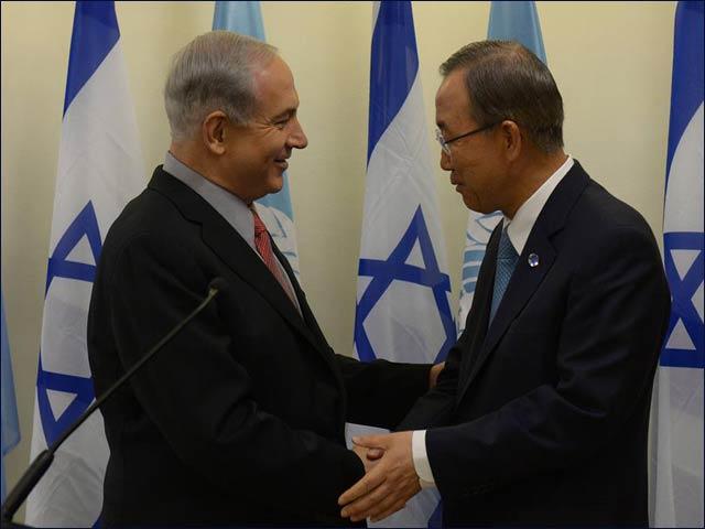 Il primo ministro israeliano Benjamin Netanyahu e il Segretario Generale delle Nazioni Unite Ban Ki-moon lo scorso 16 agosto, a Gerusalemme