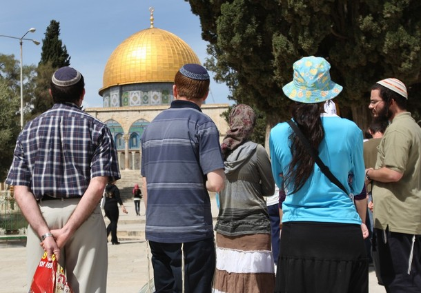 Un gruppo di turisti ebrei in visita sul Monte del Tempio