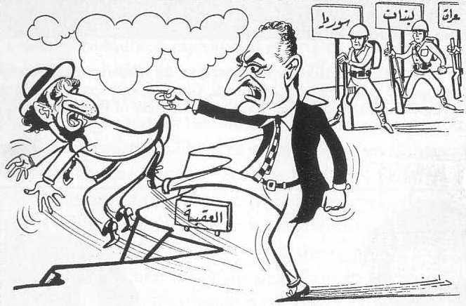 Vignetta della propaganda araba anti-Israeliana pre-'67: Nasser, sostenuto dagli altri stati arabi, butta a mare l'ebreo Israele