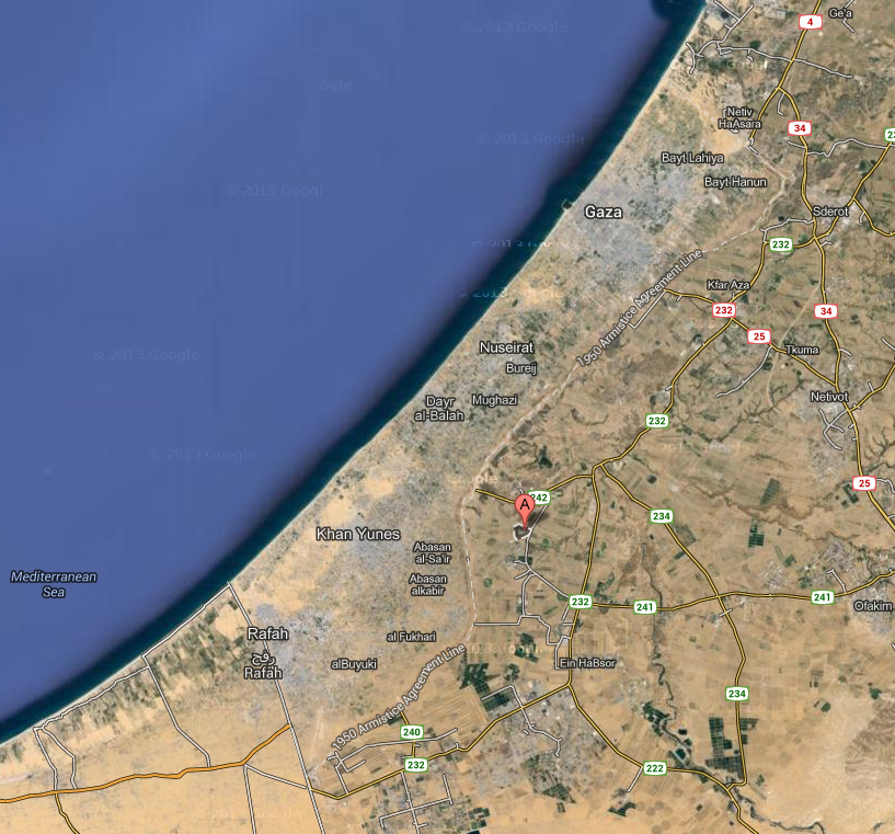 Indicato dalla lettera A, il kibbutz Ein Hashlosha
