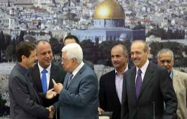7 ottobre 2013 – Delegazione parlamentare israeliana ospite al palazzo presidenziale dell'Autorità Palestinese, a Ramallah