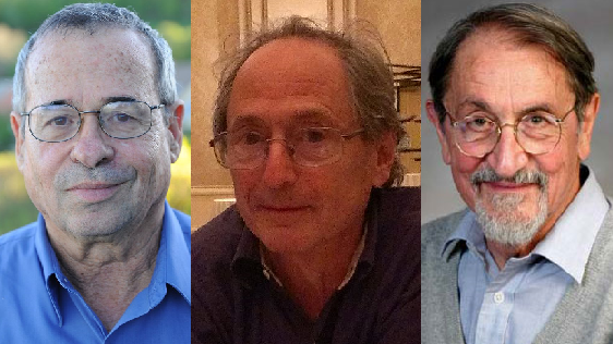 Da sinistra, i vincitori del Nobel per la chimica 2013 Arieh Warshel, Michael Levitt e Martin Karplus