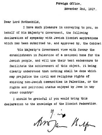 La Dichiarazione Balfour (2 novembre 1917)