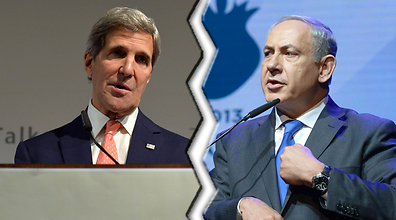 Il segretario di stato Usa John Kerry e il primo ministro israeliano Benjamin Netanyahu