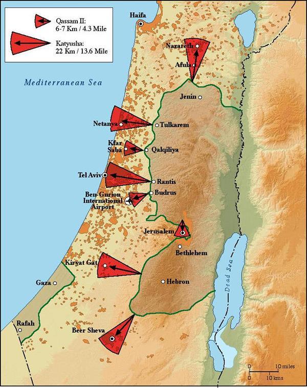 La minaccia di razzi a corto raggio dalla Cisgiordania sui centri abitati israeliani