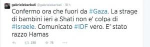 Il tweet postato da Gabriele Barbati dopo essere uscito da Gaza