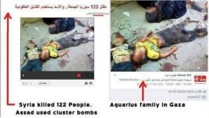 La stessa foto, postata su social netwokr in arabo. A sinistra: vittime in Siria. A destra: vittime a Gaza