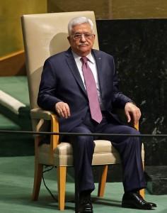 Il presidente dell'Autorità Palestinese Mahmoud Abbas (Abu Mazen) poco prima di tenere il suo discorso all'Onu