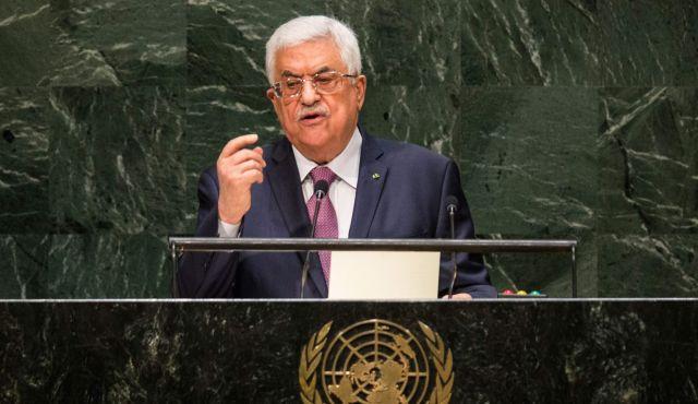Il presidente dell'Autorità Palestinese Mahmoud Abbas (Abu Mazen) durante il discorso all'Assemblea Generale dell'Onu