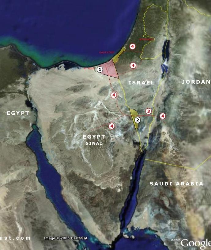 La proposta avanzata da Giora Eiland nel 2009. 1. Terra egiziana da trasferire ai palestinesi. 2 Terra di Israele da trasferire all'Egitto. 3 Autostrada israeliana/corridoio sotto controllo egiziano. 4. altre autostrade proposte – Clicca l'immagine per ingrandire