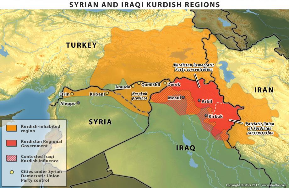 In giallo: regioni abitate da curdi. In rosso: governo regionale curdo in Iraq. Tratteggio: aree contese.