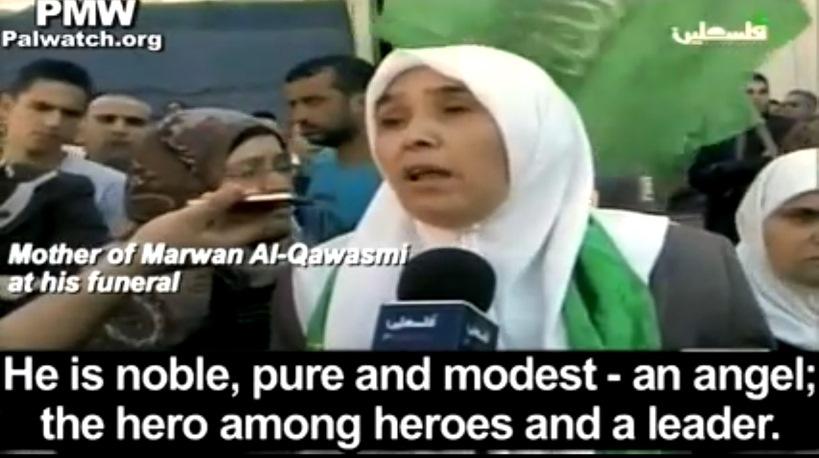 """«E' nobile, puro e modesto: un angelo; eroe tra gli eroi e un leader. Se Allah non lo avesse amato, non l'avrebbe onorato con il Martirio». Lo dice la madre di Marwan Al-Qawasmi, uno dei terroristi di Hamas che hanno sequestrato e assassino nel giugno scorso tre adolescenti israeliani. L'intervista è stata trasmessa il 23 settembre dalla tv ufficiale dell'Autorità Palestinese, la cui conduttrice ha definito """"shahids"""" (martiri), i due terroristi. Clicca l'immagine per il video (con sottotitoli in inglese)"""